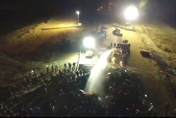November 20, Standing Rock Water Protectors attacked with water cannon.