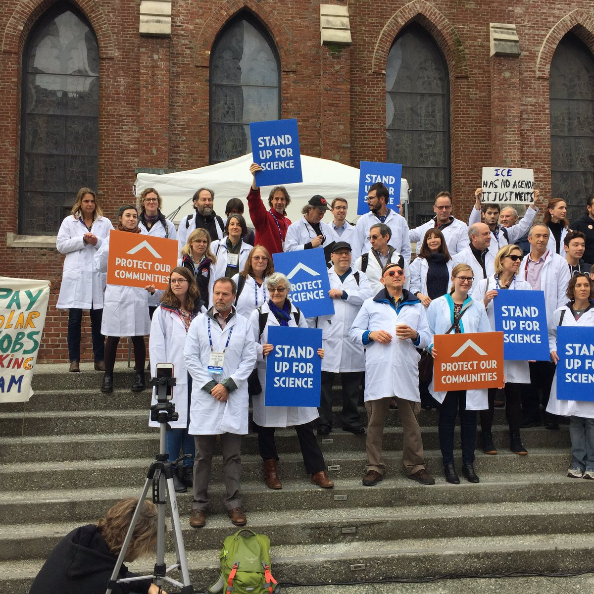 Scientists and others protest to defend science at the American Geophysical Union meeting in San Francisco, December, 2016