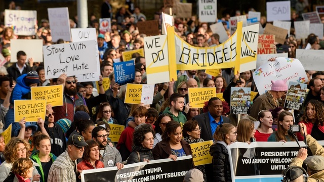 """""""Bridges not Walls"""" in a protest of the Pittsburgh Synagogue Massacre"""