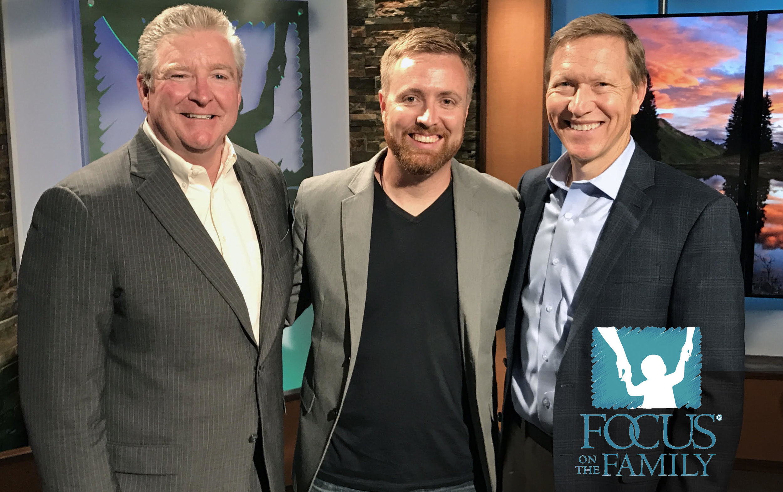 Tommy with Focus on the Family hosts Jim Daly and John Fuller.