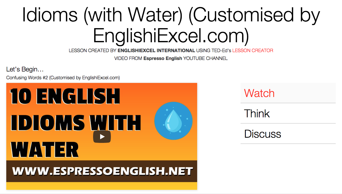 Unit 5: Idioms: Water -