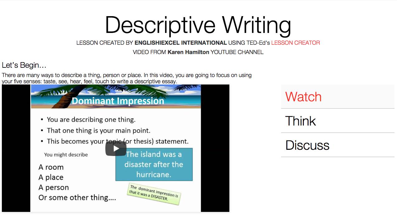 Unit 1: Descriptive Writing - https://ed.ted.com/on/JA3tB8As