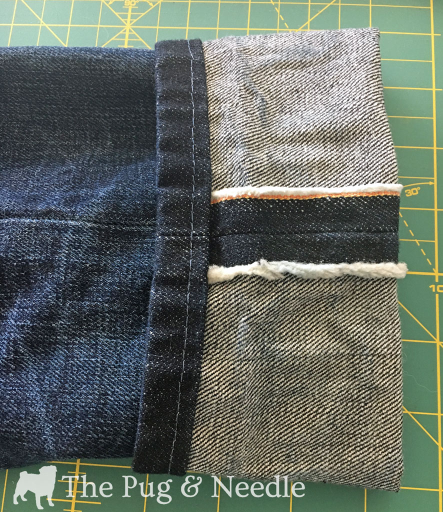 Here you can see the diagonal pattern, and you can also see the selvedge at the side seam.