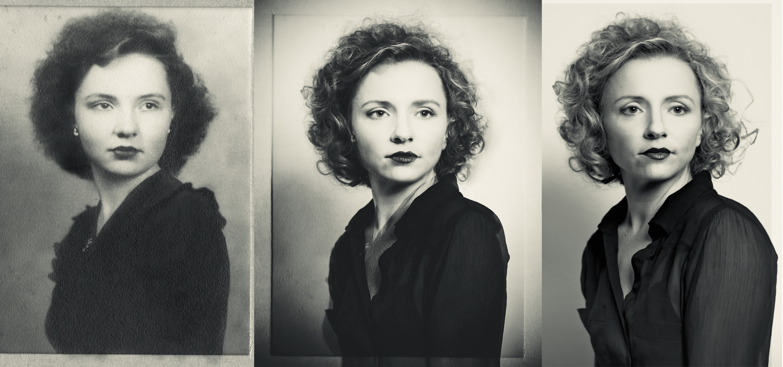 Left: Mary Alice McAfee, Age 16 (1944) Center: Composited Portrait  Right: Me, Today
