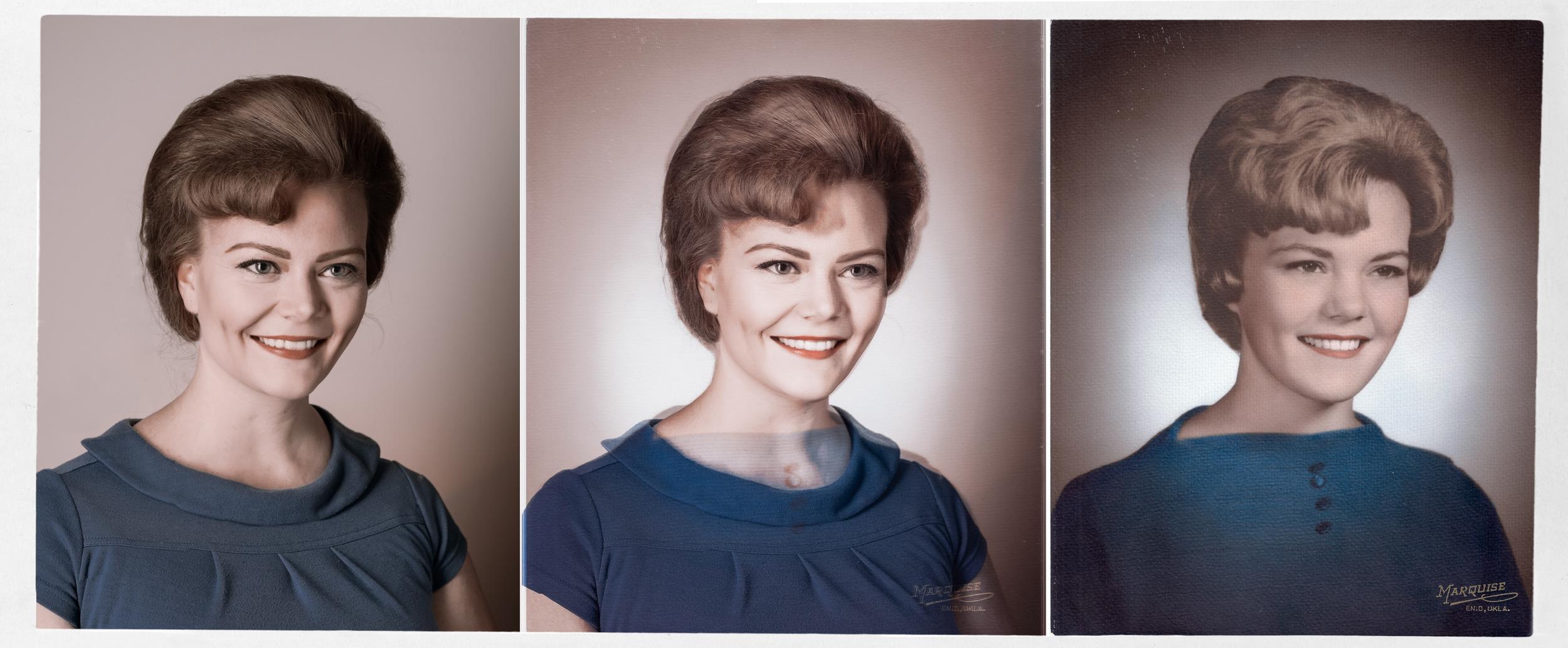 Left:: Ali, Today  Center: Composited Portrait  Right: Deborah Collins, 1964 (Age 18)