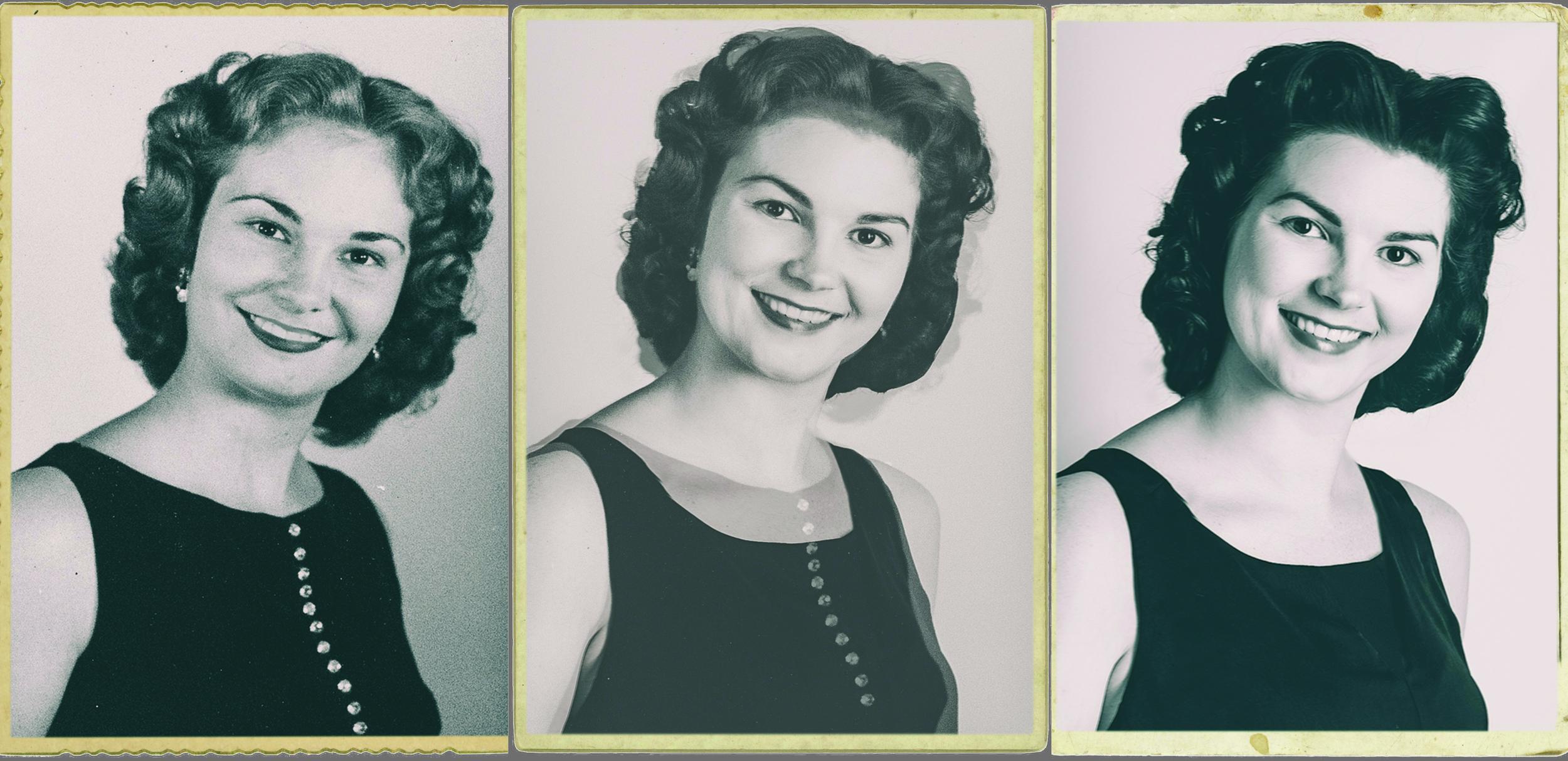 Left: Karen Kelly, age 17 (1958) Center: Composited Portrait  Right: Lindsey, Today