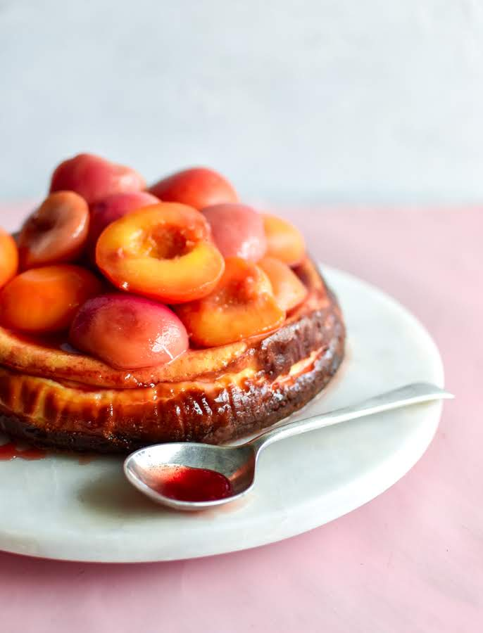PEACH + GINGER BAKED CHEESECAKE