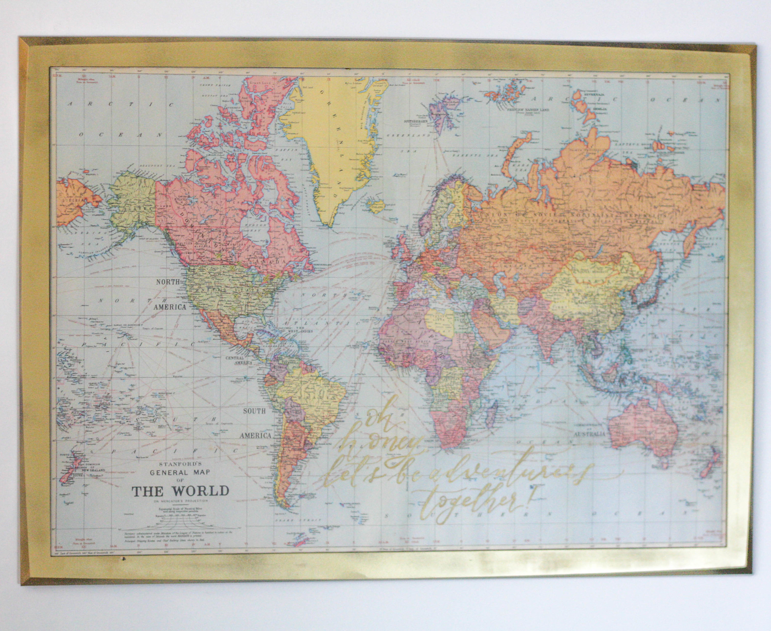 """""""Oh honey, let's be adventurers together!"""" - One of my favourite pieces in our home - I marked off all the places we've travelled to so far."""