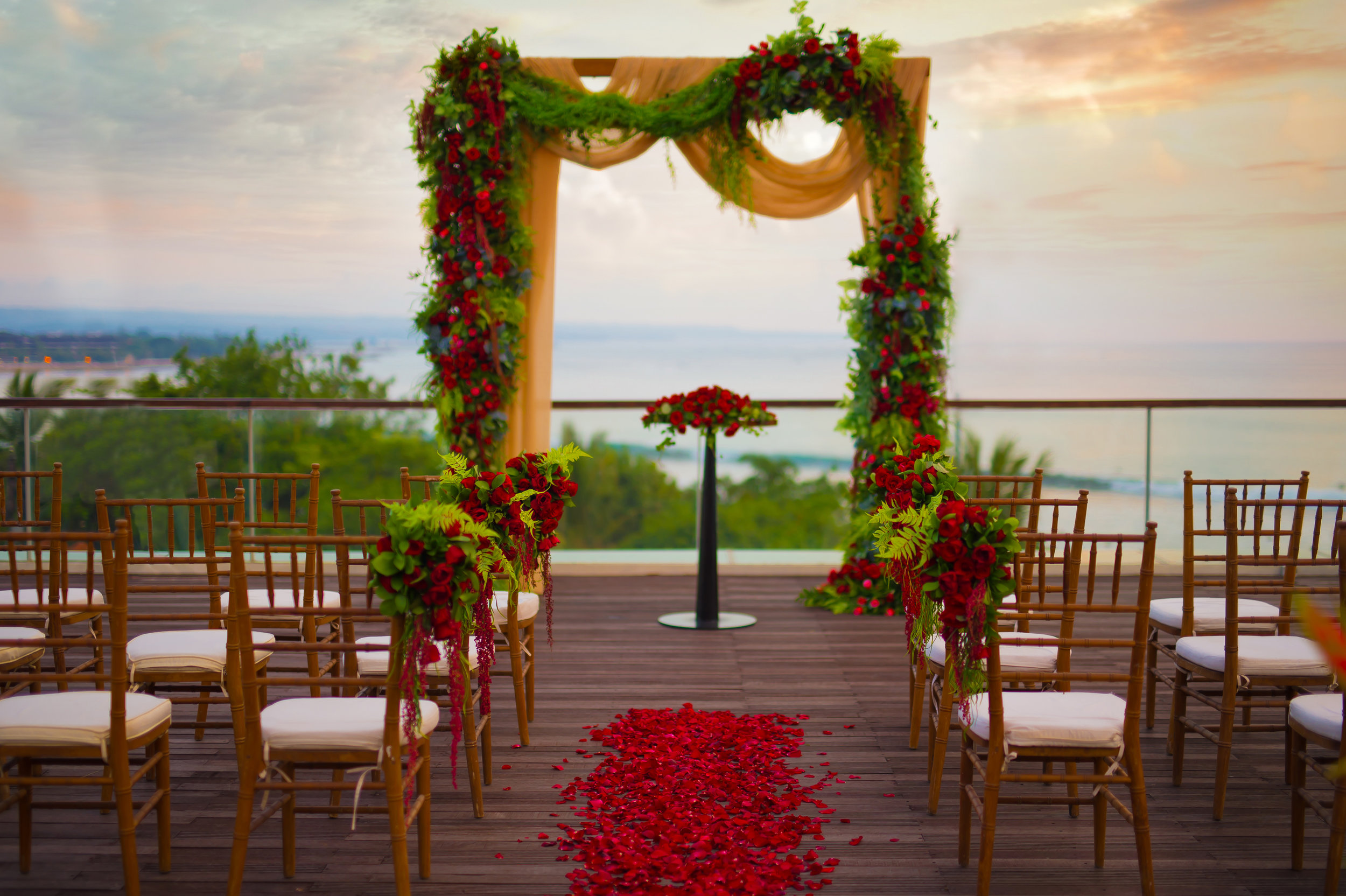 Sheraton Bali - Bene Rooftop - Wedding Setup with Red Rose Petals aisle.jpg