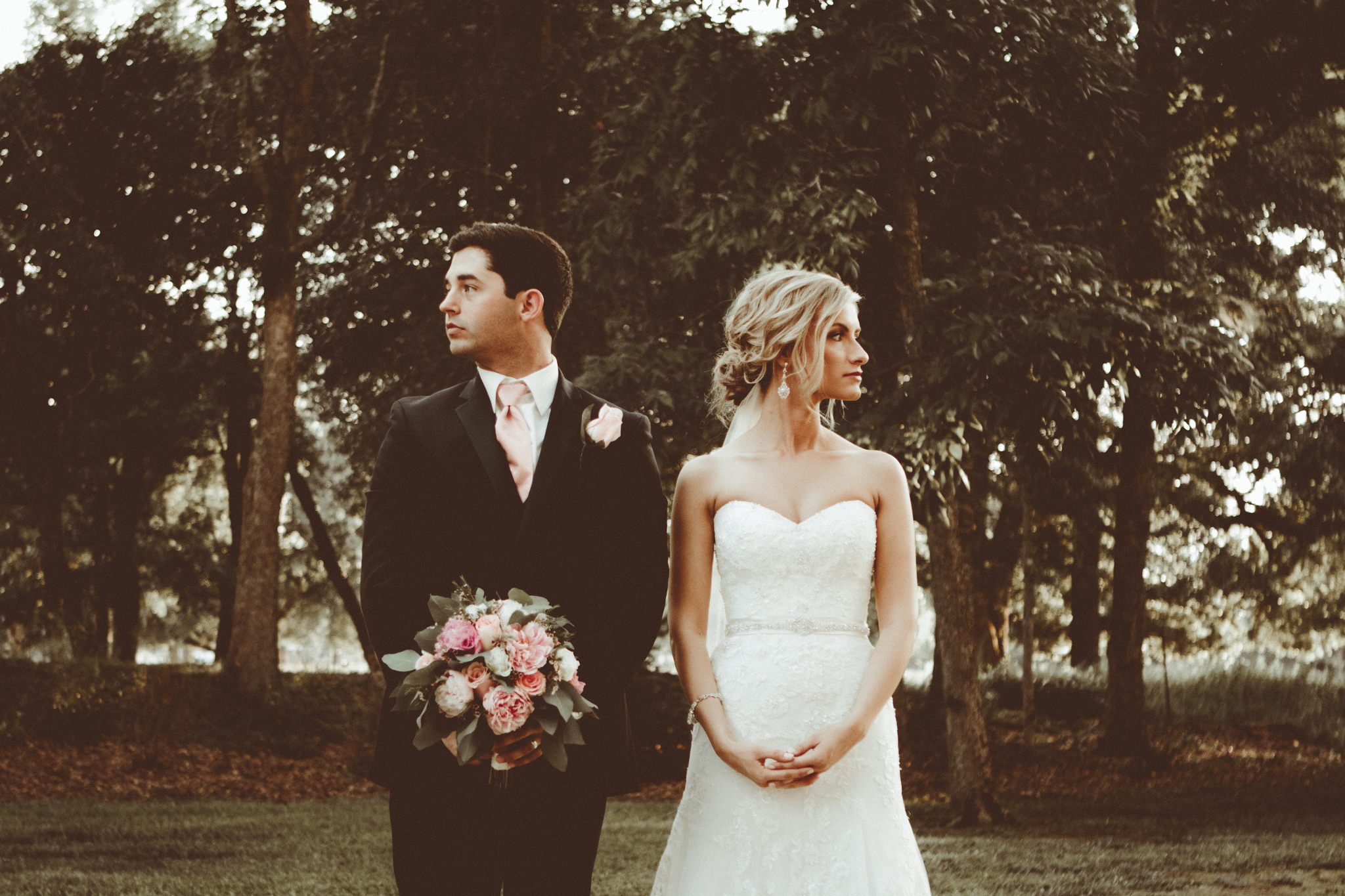 vintage film, old time bridal portrait. Josh + Alora | Classic Denham Springs Wedding. Photos by Christi Childs with The Picture People LA photography Baton Rouge, Louisiana