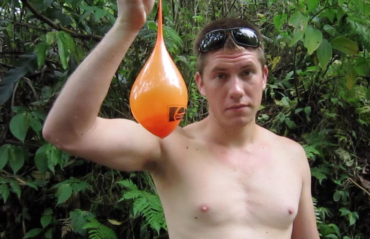 Garrett filling balloons