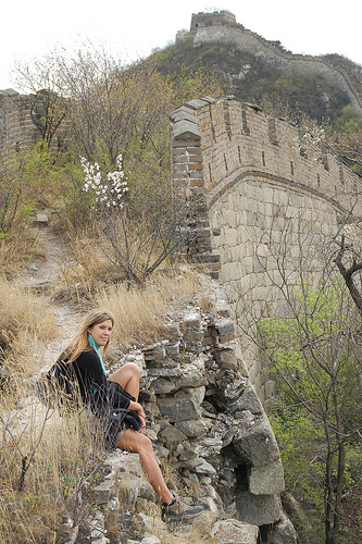 Alexis Reller on Great Wall of China during Semester at Sea, thinking