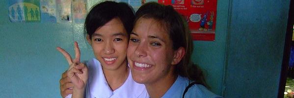 Alexis volunteering at a deaf school in Saigon, Vietnam