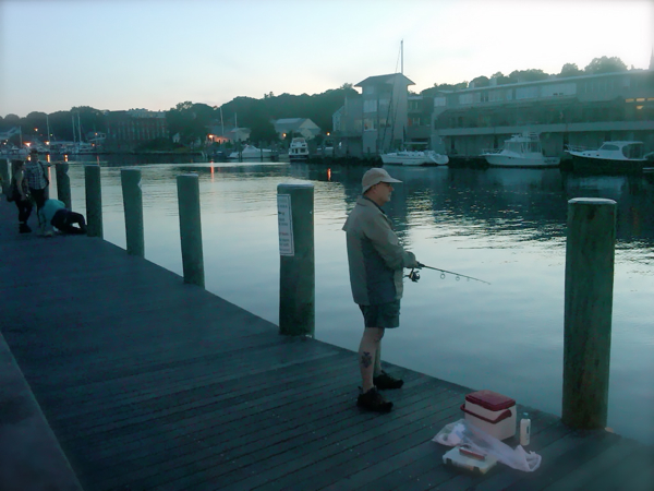 Reaching Mystic, CT at dusk to witness fishermen and draw bridges