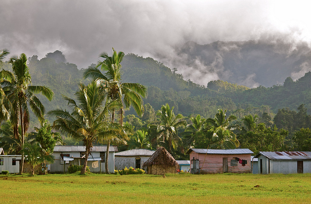 Nakavika Fiji as seen from the school block, mountains, mist