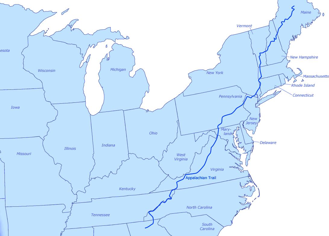 Appalachian Trail map, A Walk in the Woods