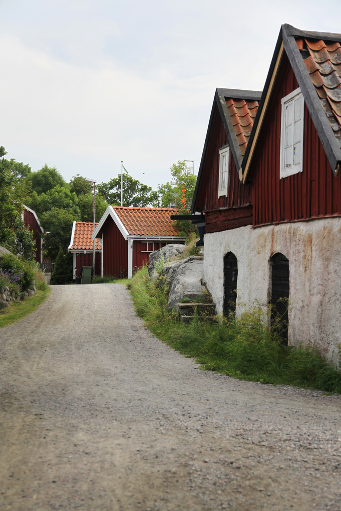 The mostly-pedestrian streets of Landsort on Öja island in Sweden