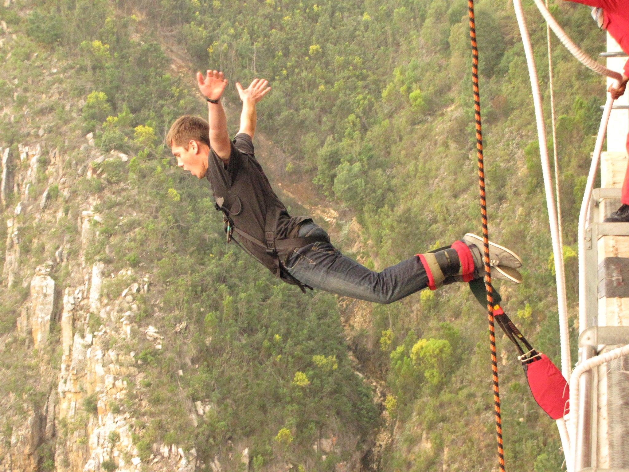 Garrett bungee jumping in Africa
