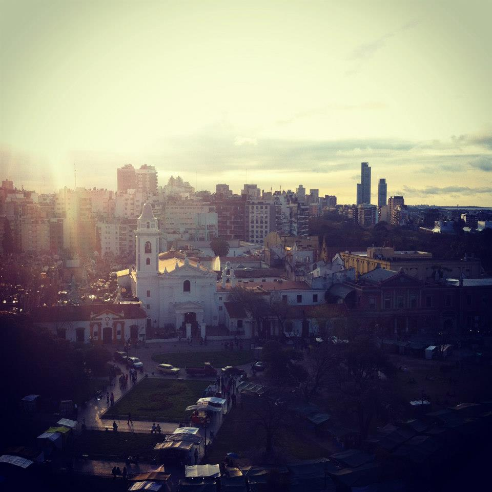 A sunset over Recoleta cemetery in Buenos Aires