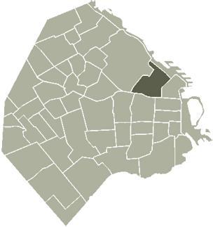Recoleta barrio in Buenos Aires, Argentina, map