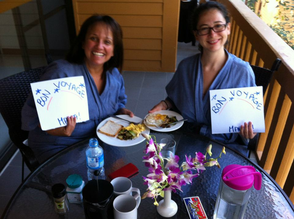 Marta and Irene at our Bon Voyage breakfast in Thailand