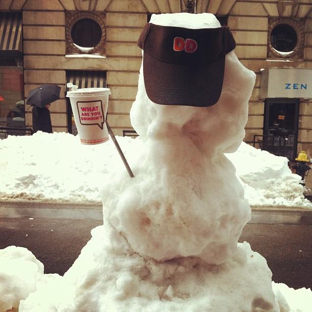 Dunkin Donuts wearing snowman, Boston