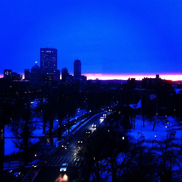 A sunset from my apartment in Boston
