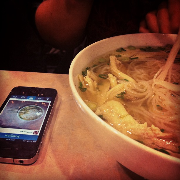 Instagram of an instagram of pho, Boston, food