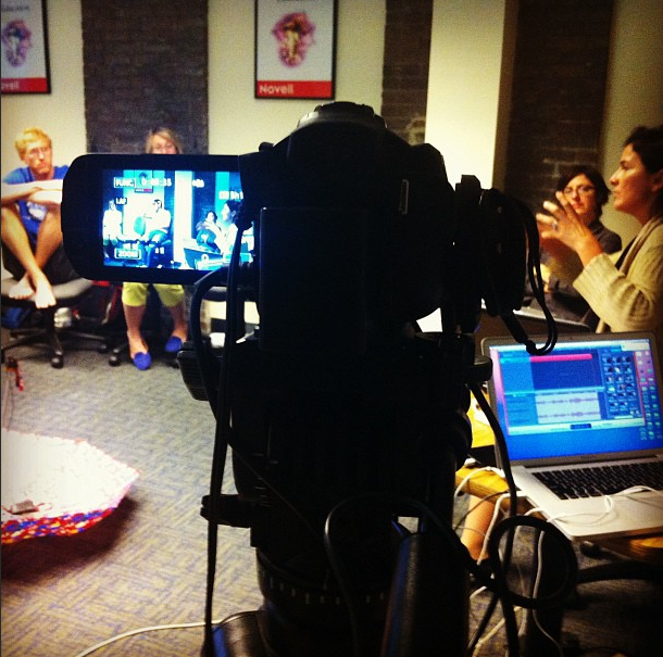 Filming at TGS, behind the camera