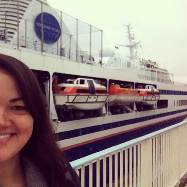 Lindsay and the MV Explorer in Kobe, Japan 2014