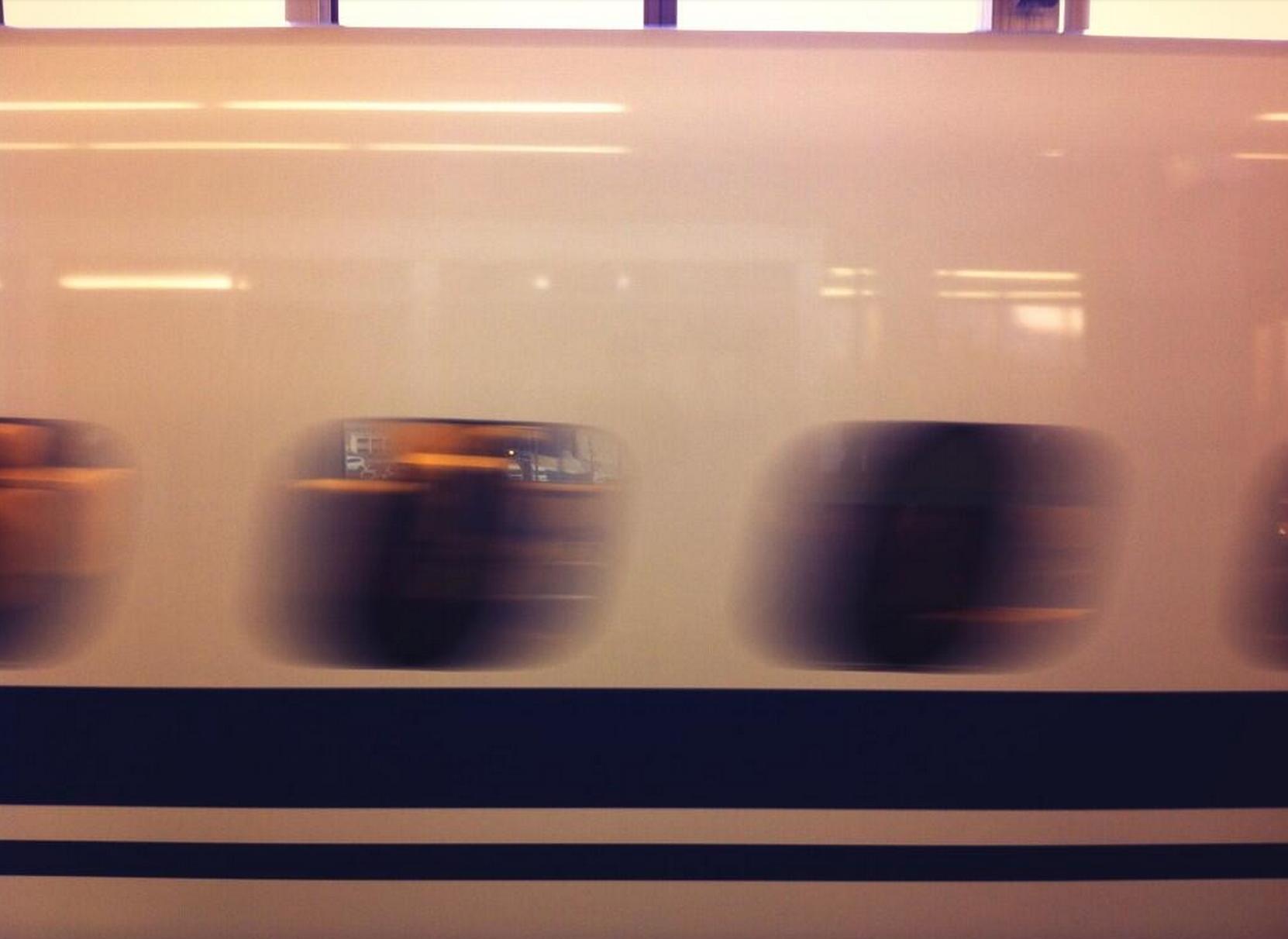 Shinkansen bullet train headed to Tokyo, Japan