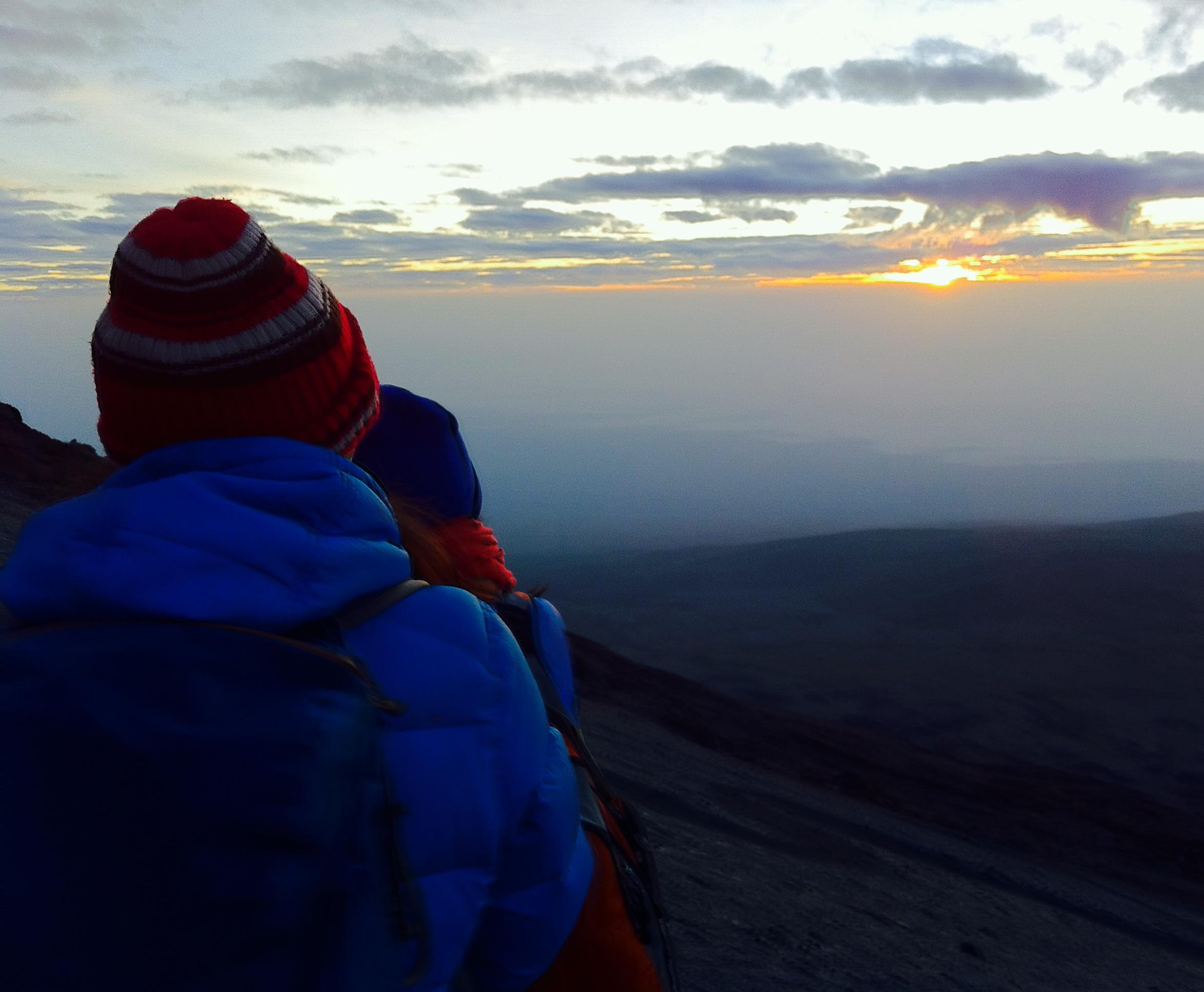 Sunrise on the final ascent of Kilimanjaro's Kibo peak