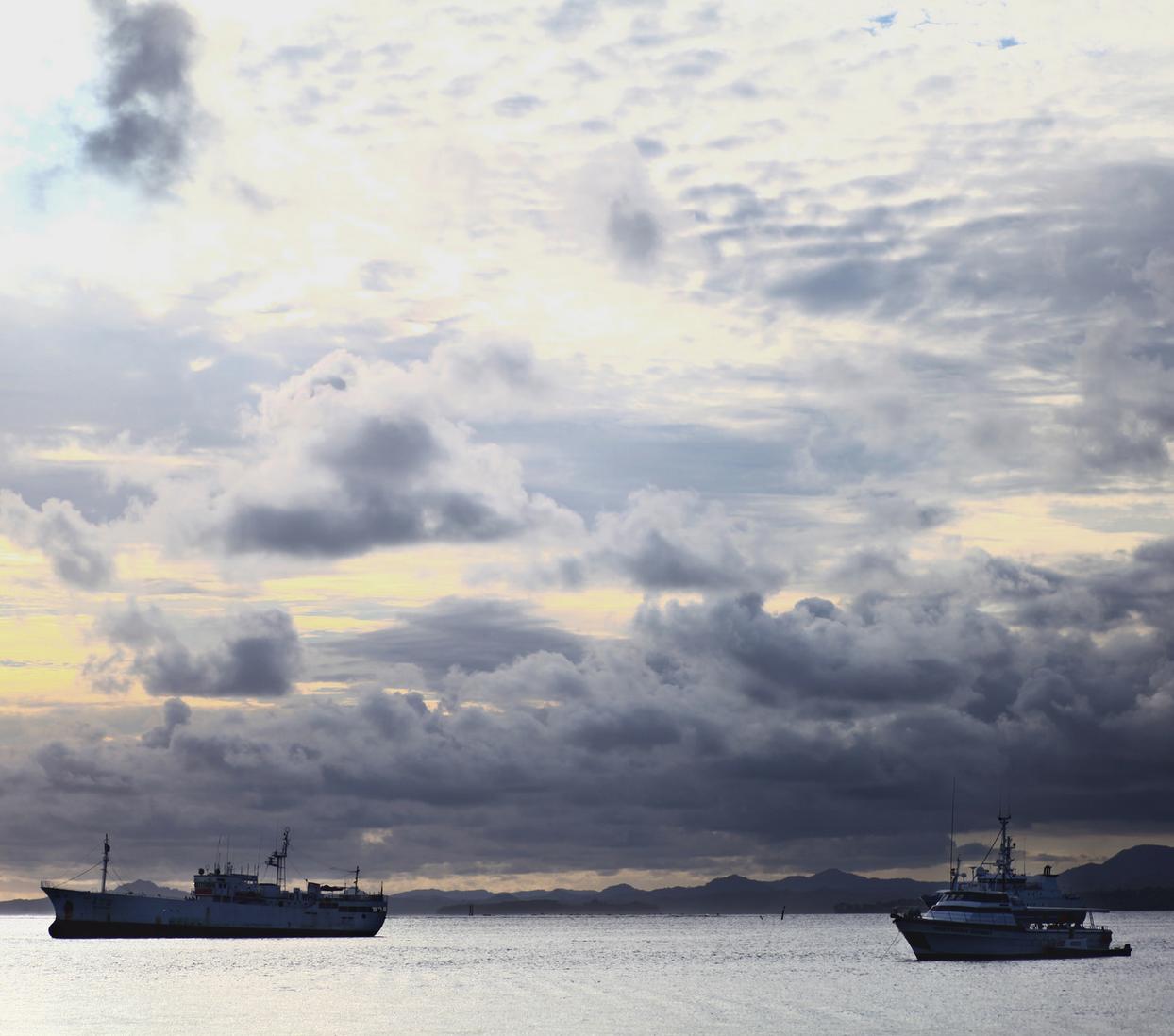 Boats in harbor in Suva, Fiji