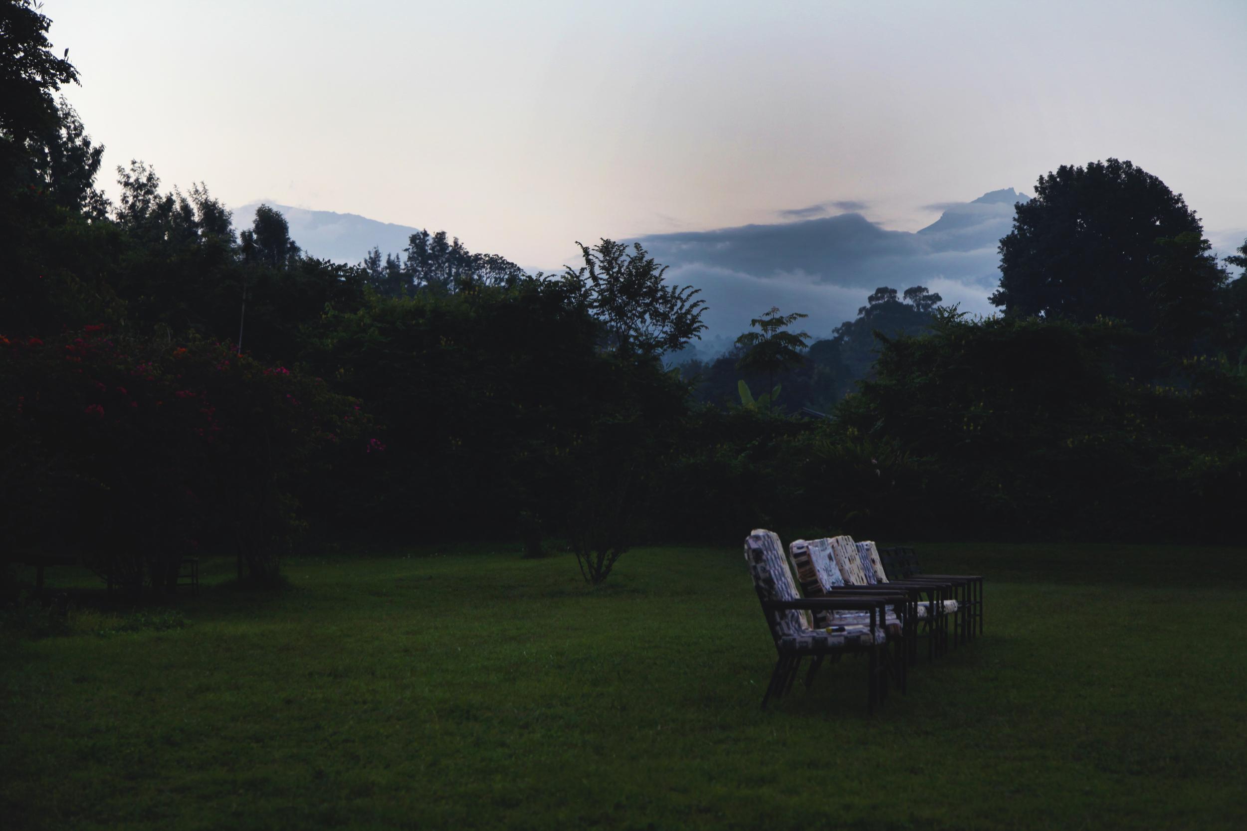 Kibo and Mawenzi peaks from Hotel Marangu, Moshi, Tanzania