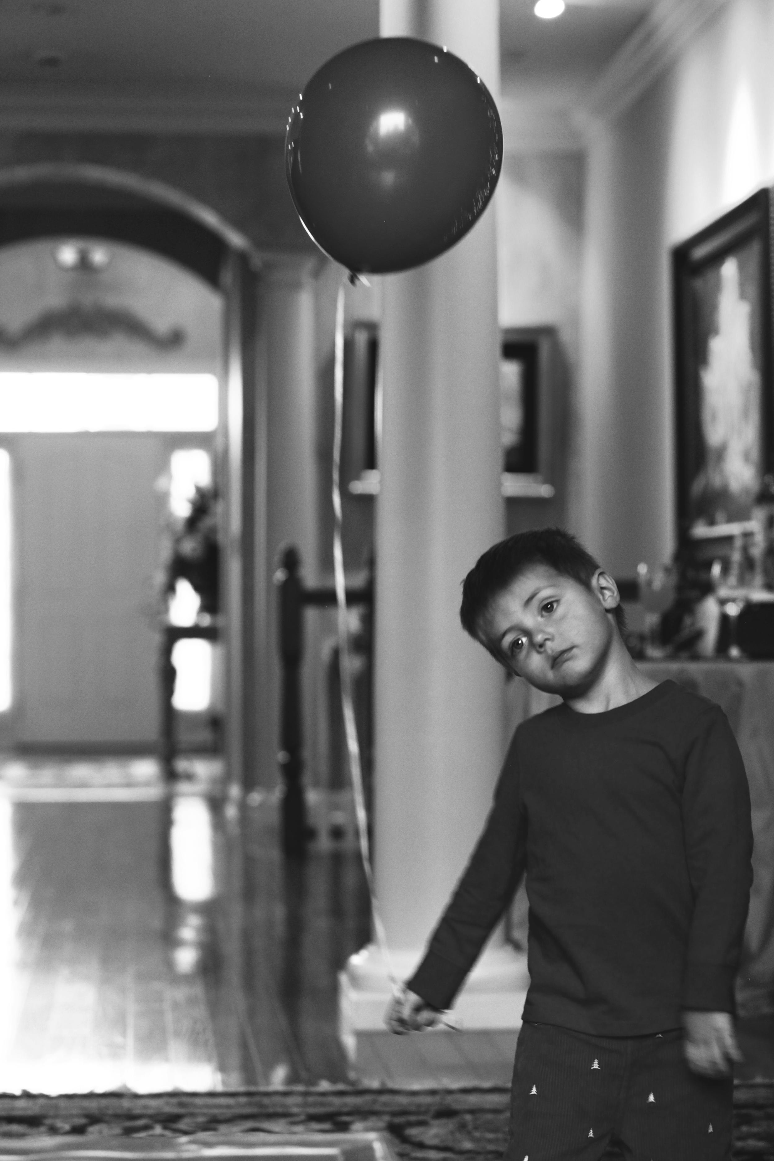 Max and his balloon, Christmas, 2014