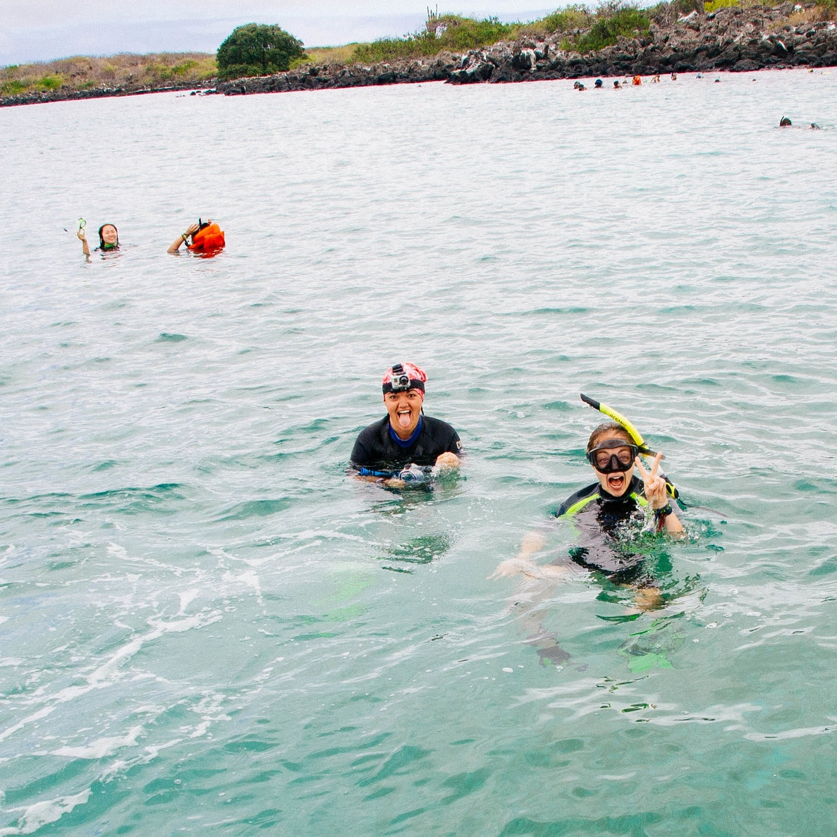 Monique and I snorkeling with sea lions off the Galapagos islands