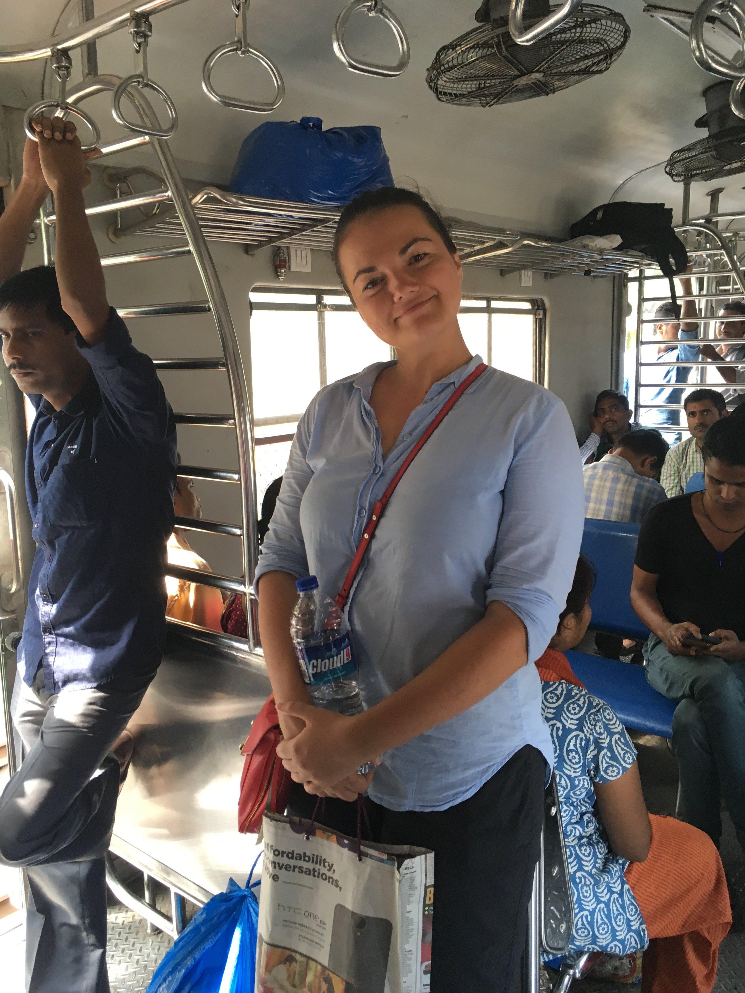 Feeling the breeze on the Mumbai train