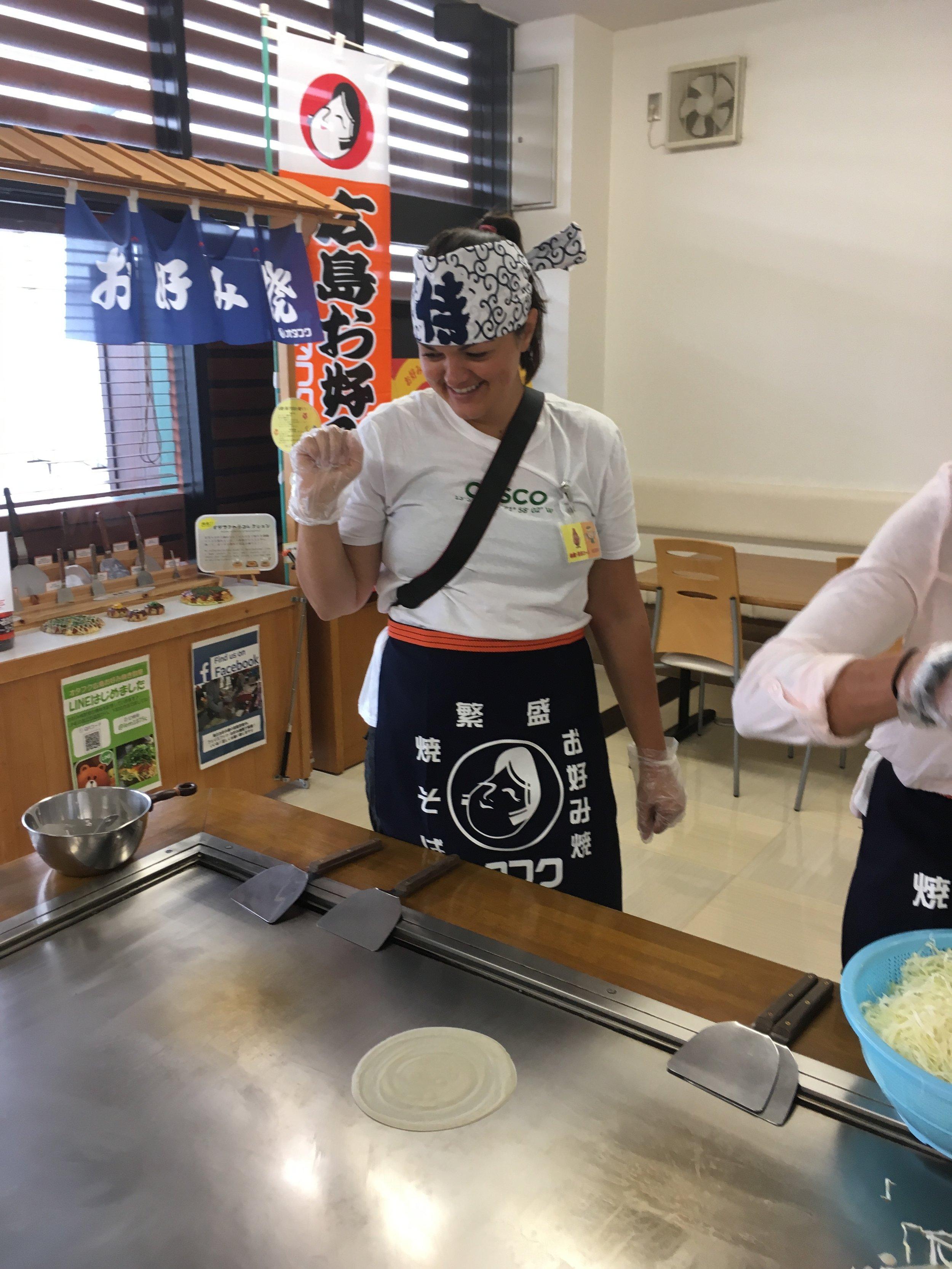 Proud of my okonomiyaki at the Otafuku factory