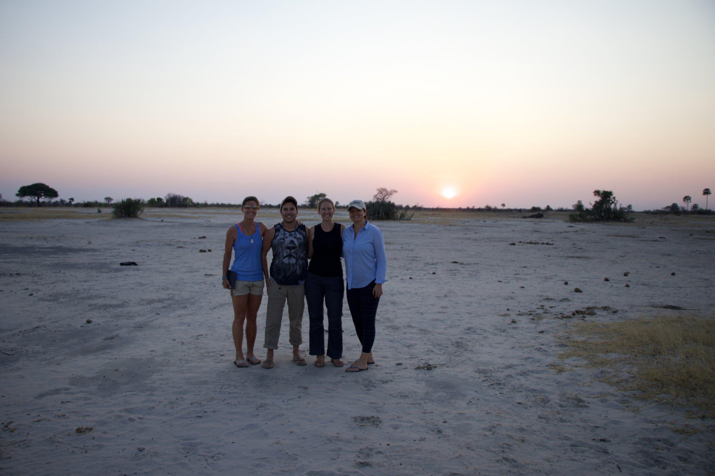 Having sundowners on the border with Botswana and Zimbabwe