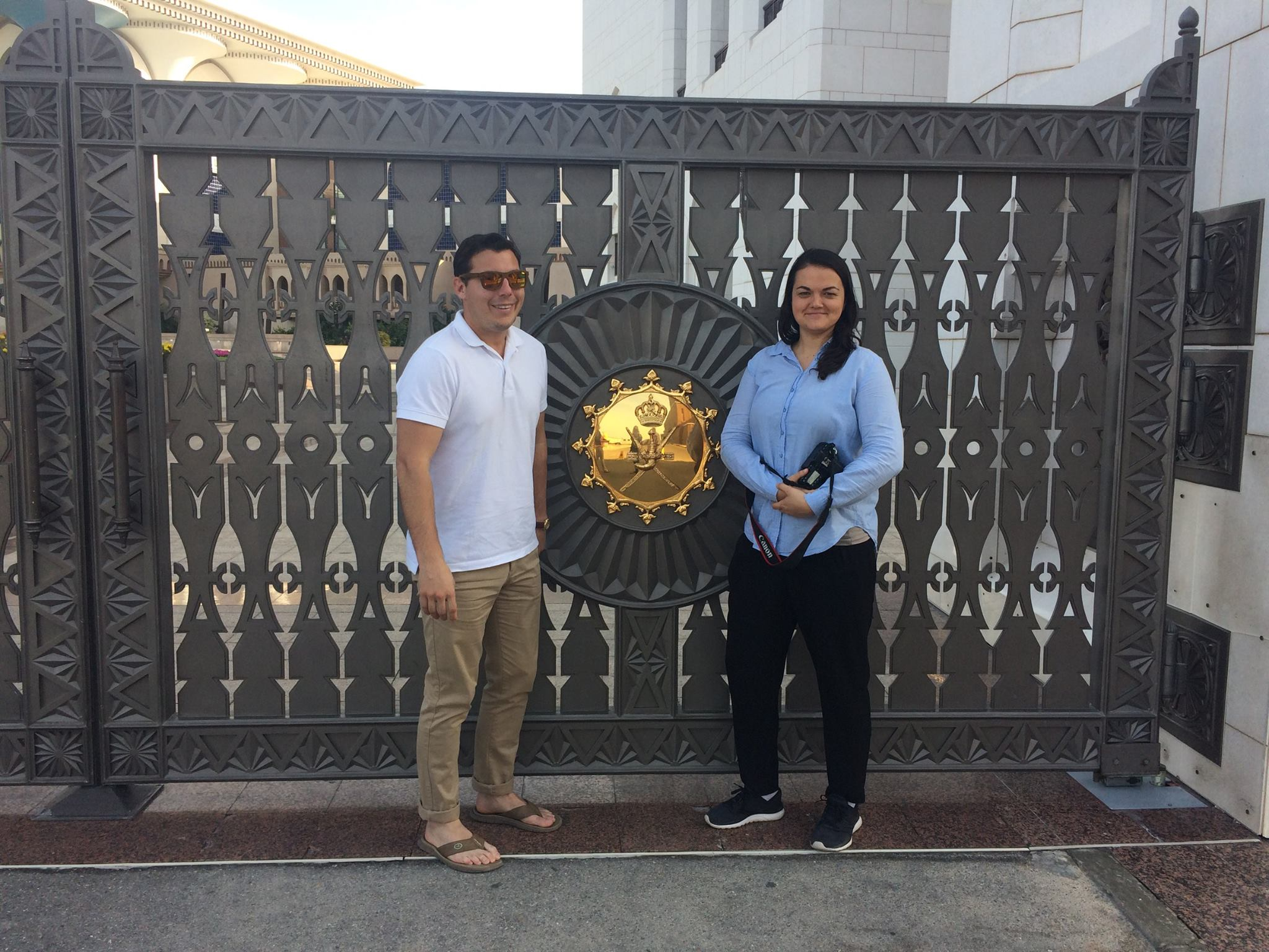 Nick and I at the gate of the Sultan's home