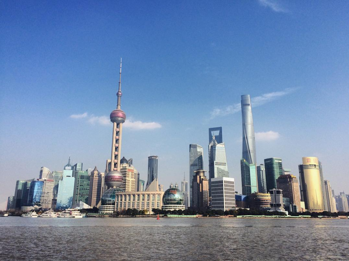 Checking out the Pudong cityscape in Shanghai