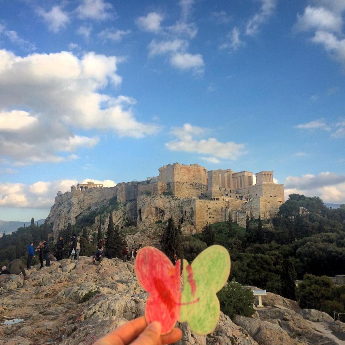 Butterwormie visits the Acropolis