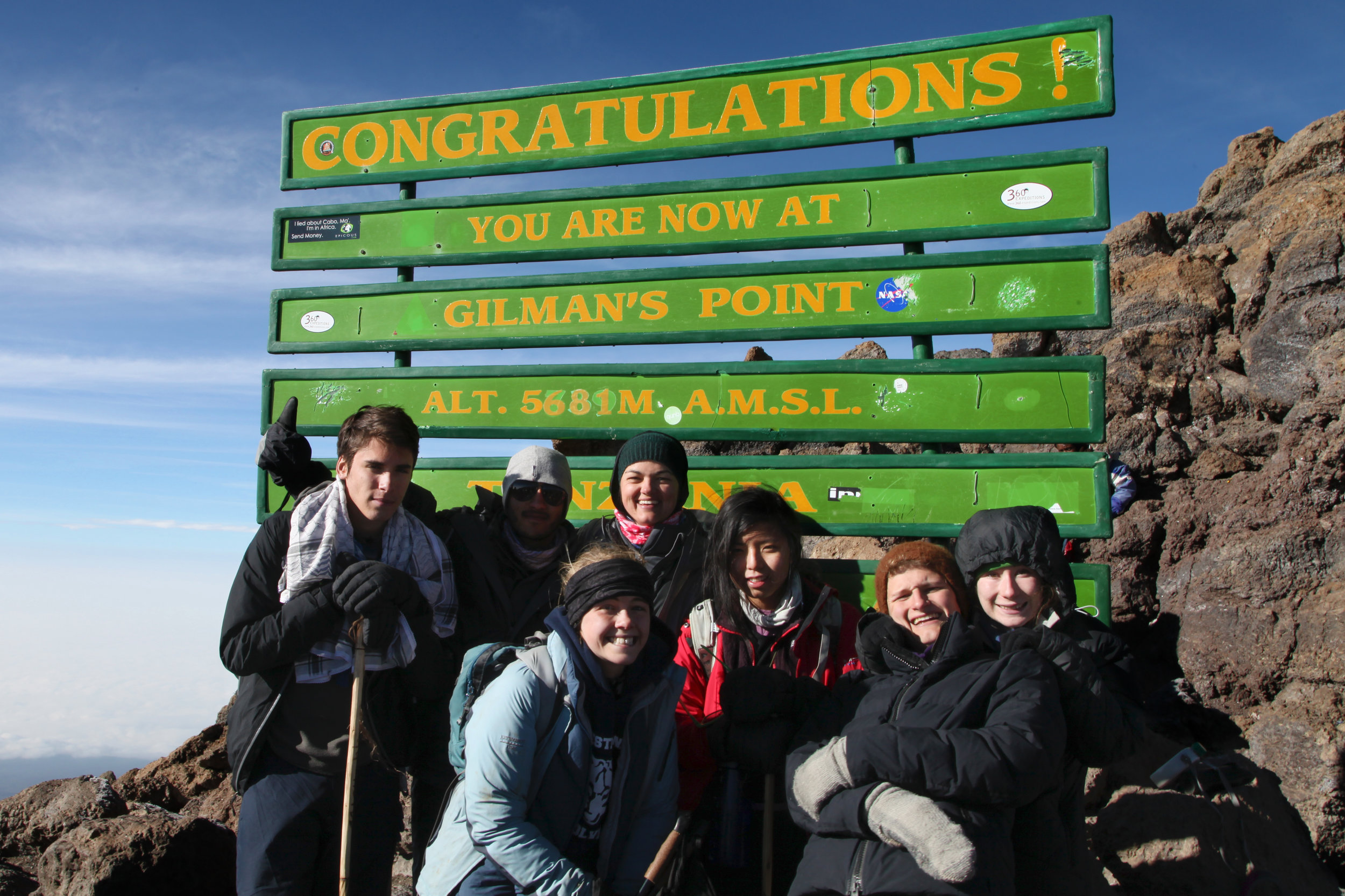 Sharing a really powerful moment atop Mt. Kilimanjaro with the first class of graduates from THINK Global School, June 2014