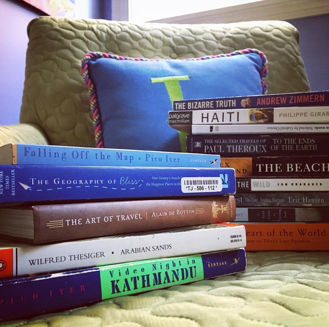 Stacks of travel books