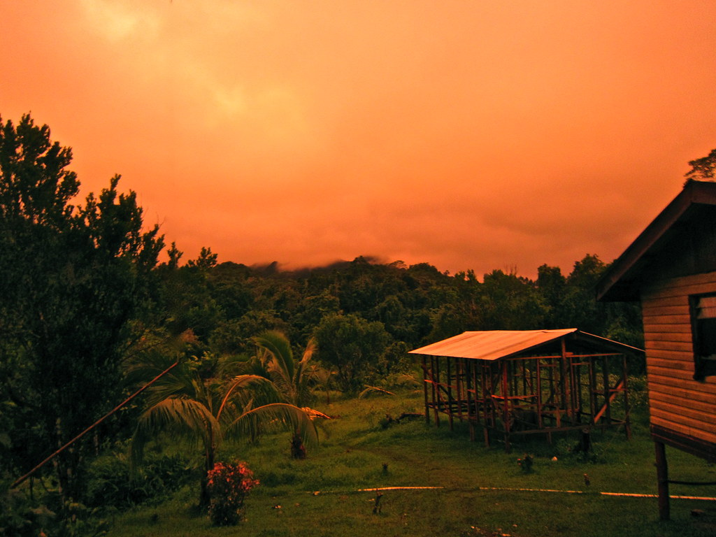 The tangerine sky after the cyclone, Fiji Dec 2009