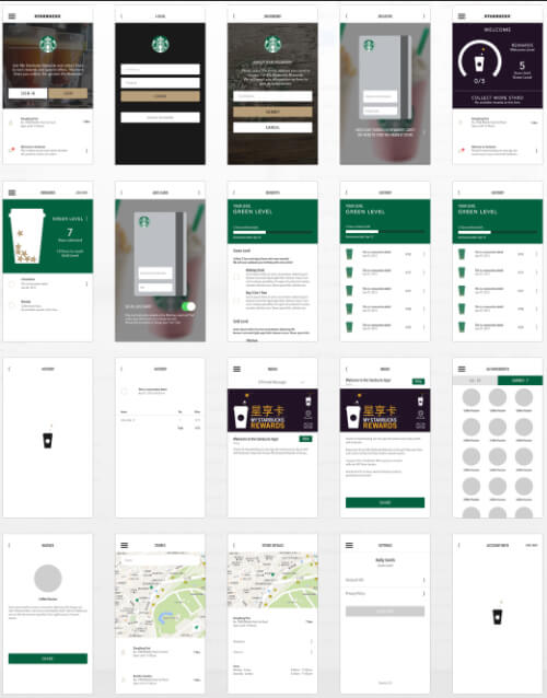 Working design detail screens for the Starbucks iPhone app