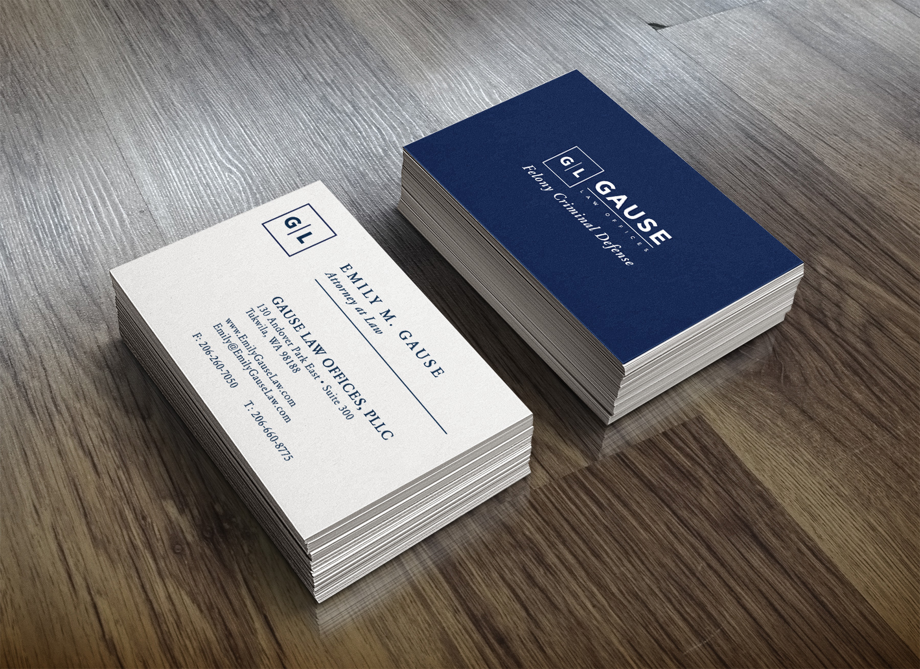 Logo design and business card layouts for Gause Law Offices