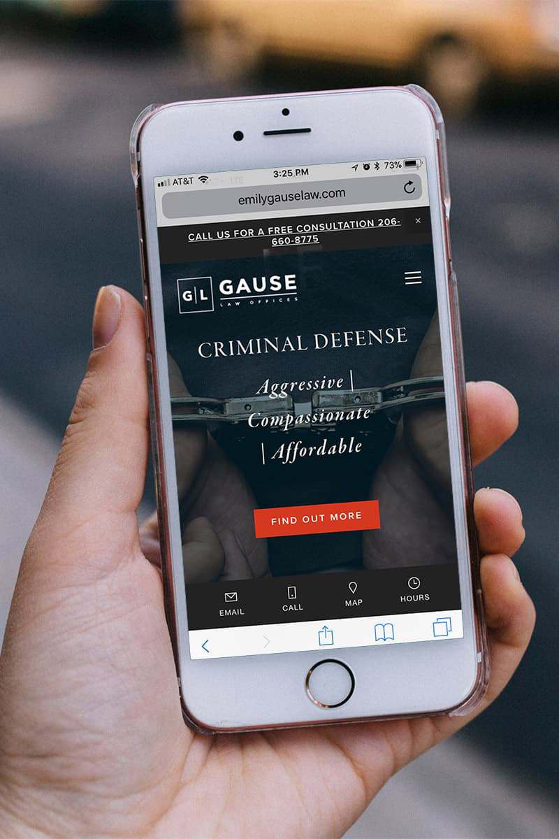 Mobile view of the Gause Law Offices website.