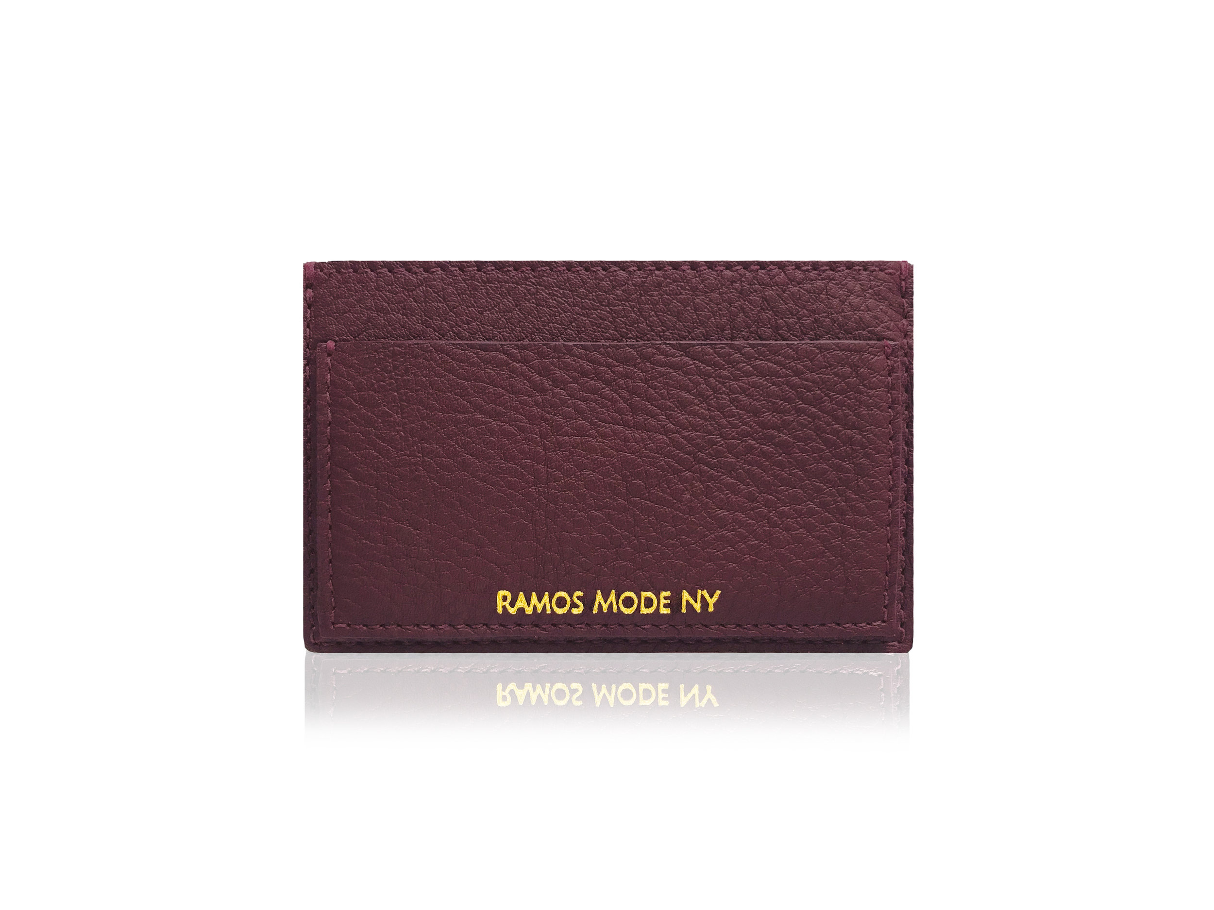 RMNY Card Case Burgundy Matte Gold Back.jpg