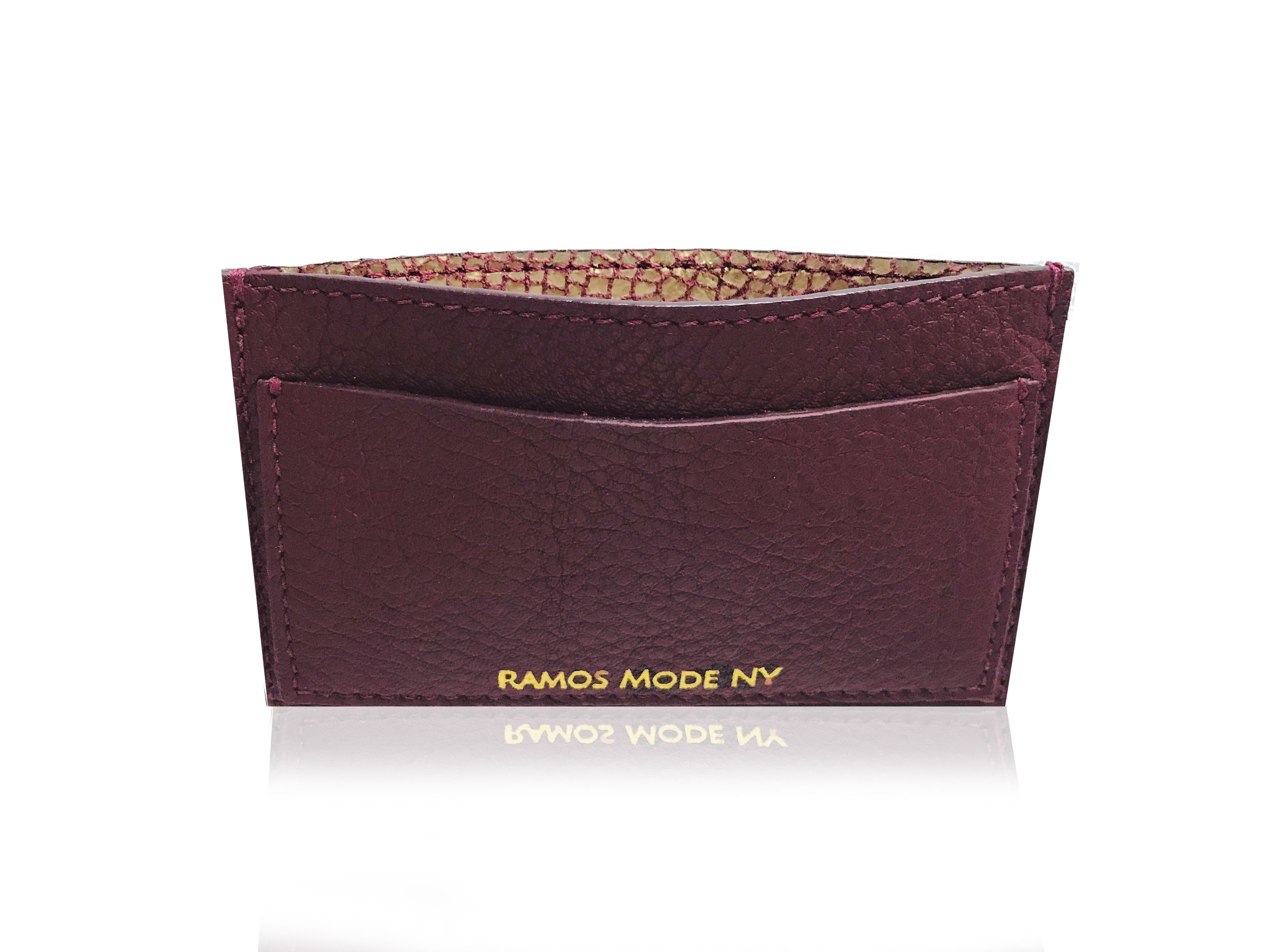 RMNY Card Case Burgundy Matte Gold Top.jpg